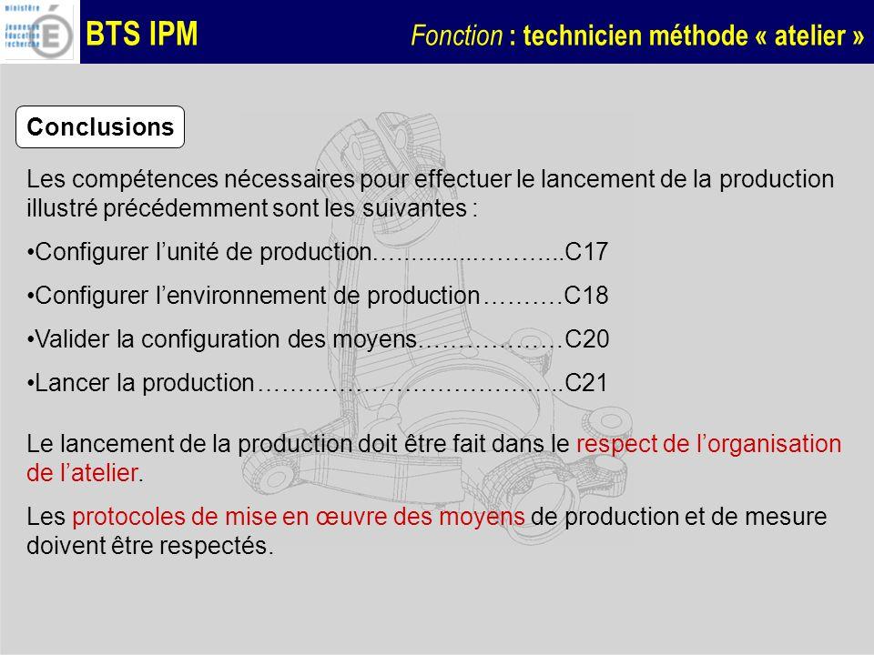 BTS IPM Fonction : technicien méthode « atelier » Conclusions Les compétences nécessaires pour effectuer le lancement de la production illustré précéd