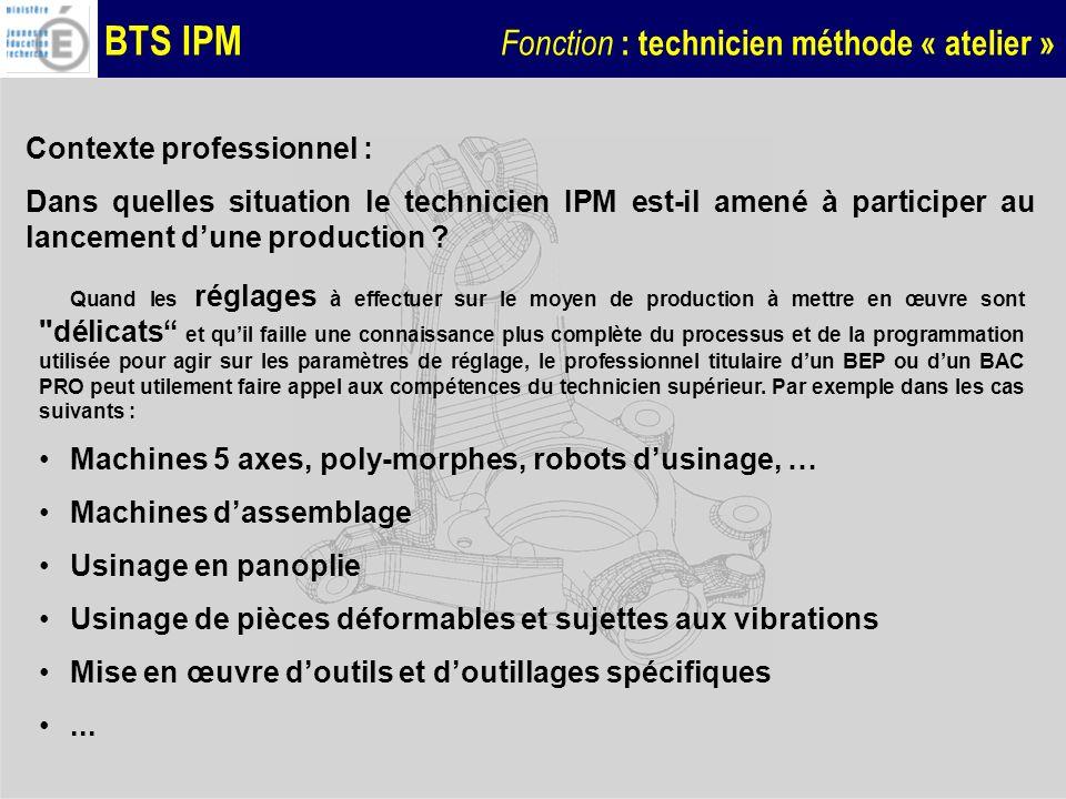 BTS IPM Fonction : technicien méthode « atelier » Difficultés rencontrées : Réalisation de pièces à tolérances dimensionnelles et géométriques réduites, Réalisation dune pièce de tournage en montage mixte avec entraîneur frontal, Nécessité de compenser les défauts géométriques de la machine par la programmation, Compte tenu du coût important du brut, la stratégie de réglage doit permettre de minimiser les rebuts (objectif : 0 rebut),