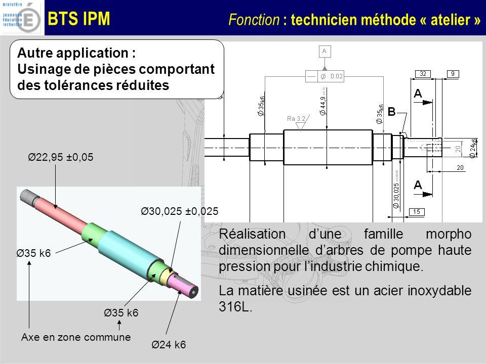 BTS IPM Fonction : technicien méthode « atelier » Ø35 k6 Autre application : Usinage de pièces comportant des tolérances réduites Ø22,95 ±0,05 Ø24 k6