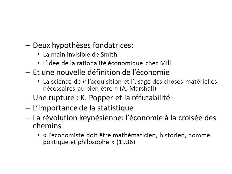 – Deux hypothèses fondatrices: La main invisible de Smith Lidée de la rationalité économique chez Mill – Et une nouvelle définition de léconomie La science de « lacquisition et lusage des choses matérielles nécessaires au bien-être » (A.