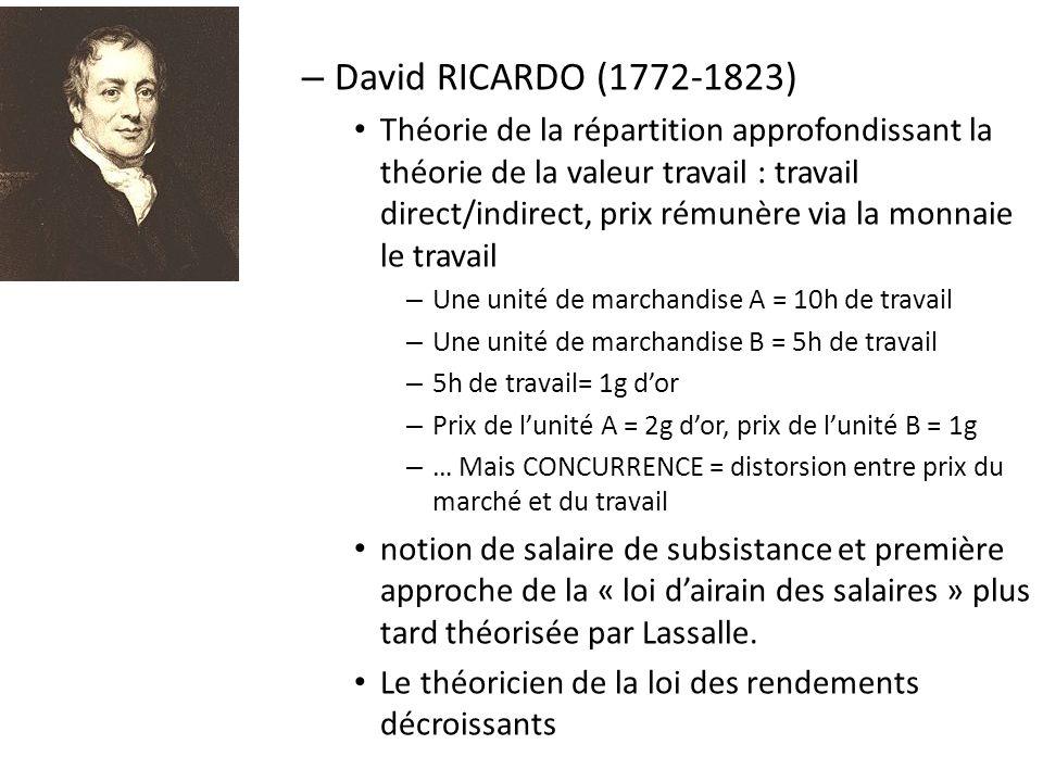 – David RICARDO (1772-1823) Théorie de la répartition approfondissant la théorie de la valeur travail : travail direct/indirect, prix rémunère via la monnaie le travail – Une unité de marchandise A = 10h de travail – Une unité de marchandise B = 5h de travail – 5h de travail= 1g dor – Prix de lunité A = 2g dor, prix de lunité B = 1g – … Mais CONCURRENCE = distorsion entre prix du marché et du travail notion de salaire de subsistance et première approche de la « loi dairain des salaires » plus tard théorisée par Lassalle.