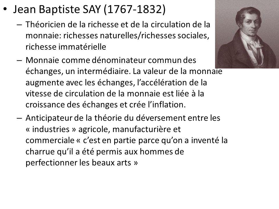 Jean Baptiste SAY (1767-1832) – Théoricien de la richesse et de la circulation de la monnaie: richesses naturelles/richesses sociales, richesse immatérielle – Monnaie comme dénominateur commun des échanges, un intermédiaire.