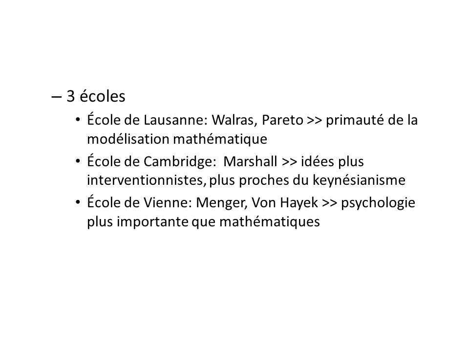 – 3 écoles École de Lausanne: Walras, Pareto >> primauté de la modélisation mathématique École de Cambridge: Marshall >> idées plus interventionnistes, plus proches du keynésianisme École de Vienne: Menger, Von Hayek >> psychologie plus importante que mathématiques