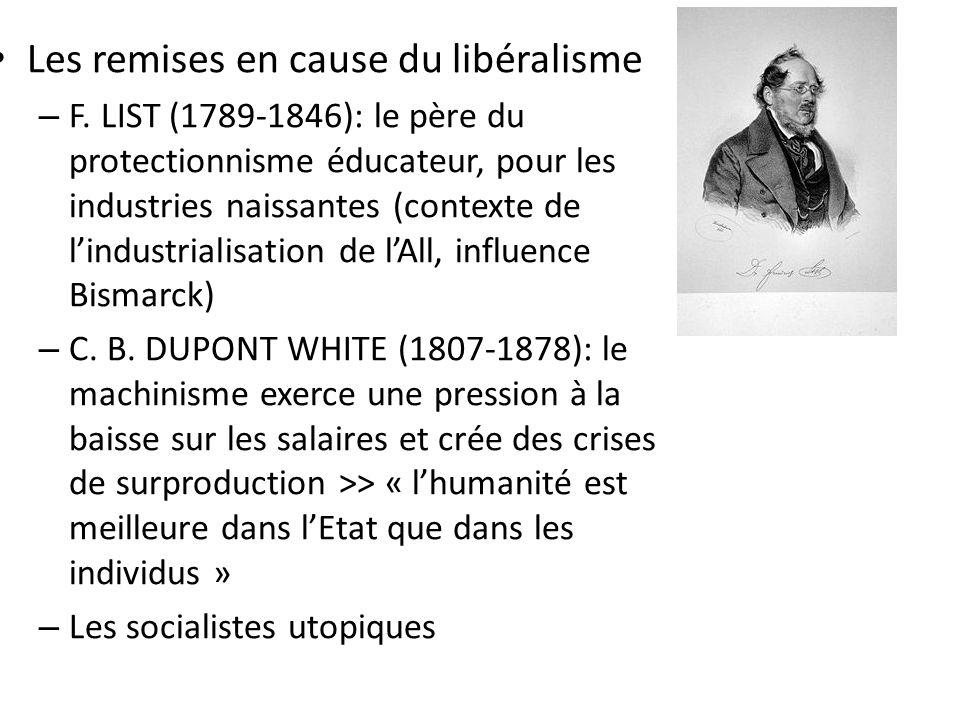 Les remises en cause du libéralisme – F.