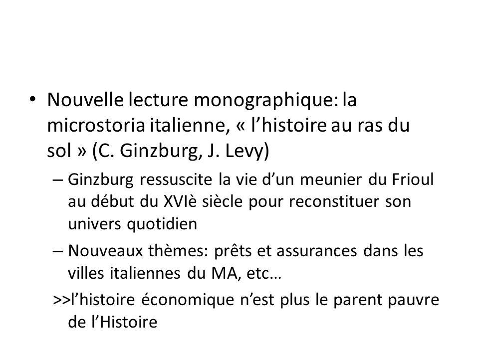 Nouvelle lecture monographique: la microstoria italienne, « lhistoire au ras du sol » (C.