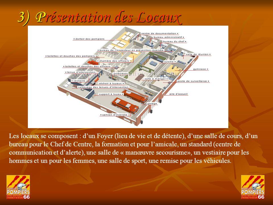 3) Présentation des Locaux Les locaux se composent : dun Foyer (lieu de vie et de détente), dune salle de cours, dun bureau pour le Chef de Centre, la
