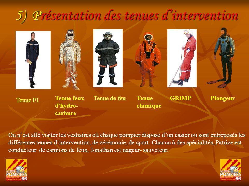 5) Présentation des tenues dintervention On nest allé visiter les vestiaires où chaque pompier dispose dun casier ou sont entreposés les différentes t