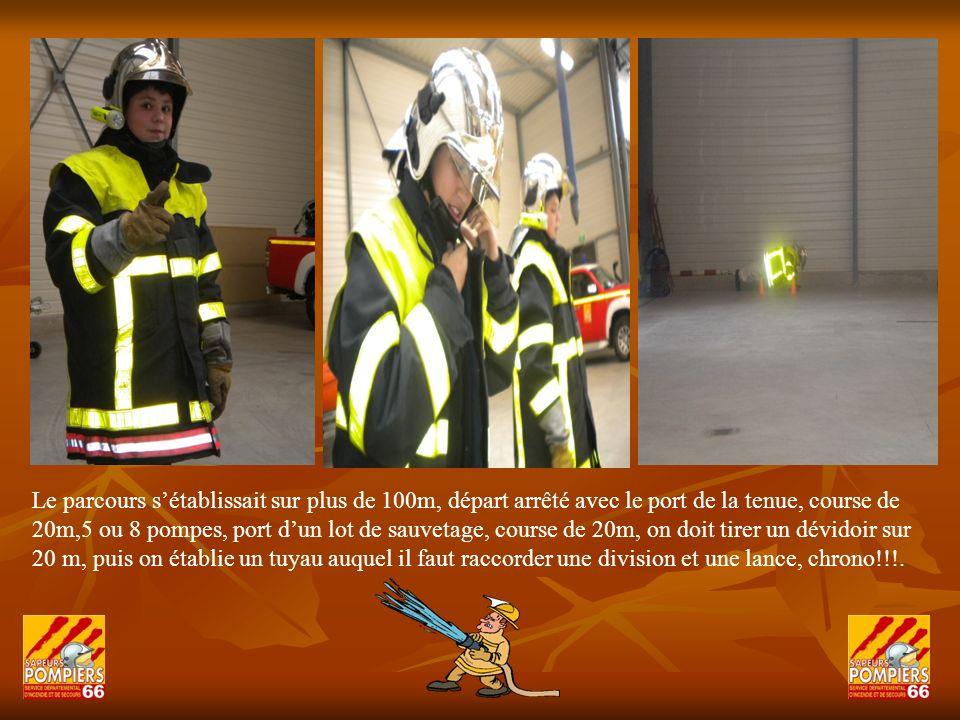 Chez les pompiers, la forme physique est importante et le travail en équipe est indispensable, le poids dun appareil respiratoire pèse jusquà 16kg, celui dune claie de portage pour feu de foret pèse plus de 30 kg!