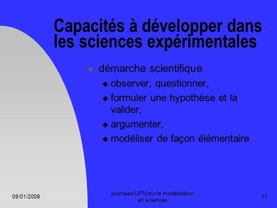 09/01/2008 journées IUFM sur la modélisation en sciences 11 Capacités à développer dans les sciences expérimentales démarche scientifique observer, qu