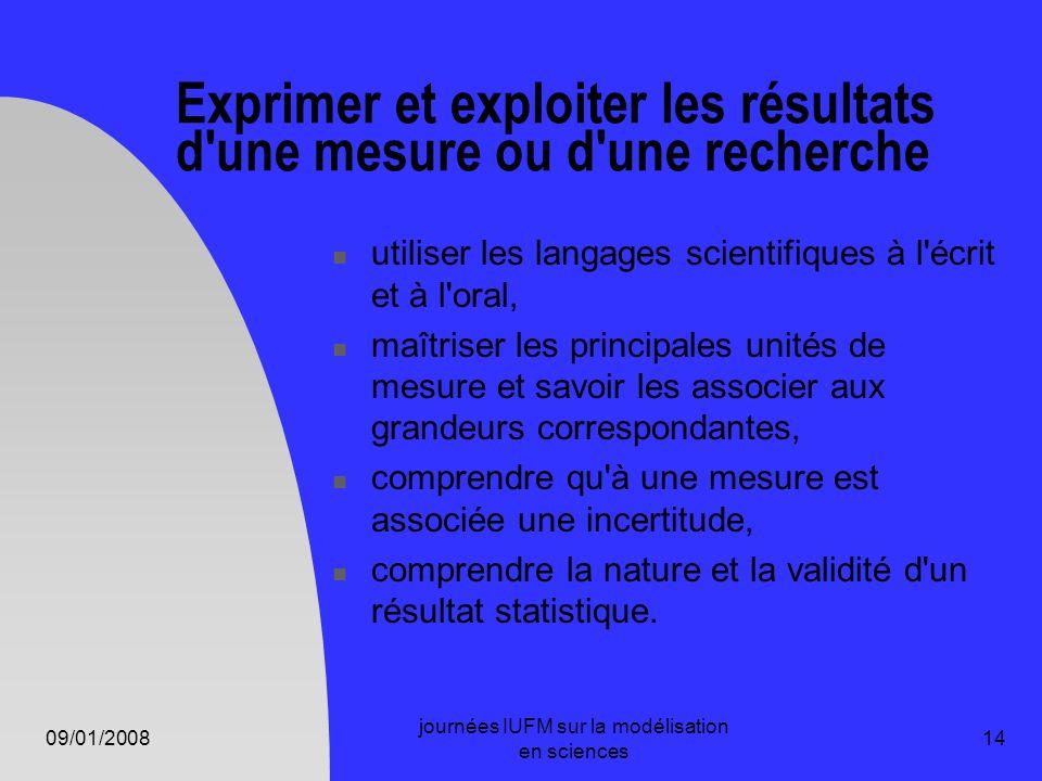 09/01/2008 journées IUFM sur la modélisation en sciences 14 Exprimer et exploiter les résultats d'une mesure ou d'une recherche utiliser les langages