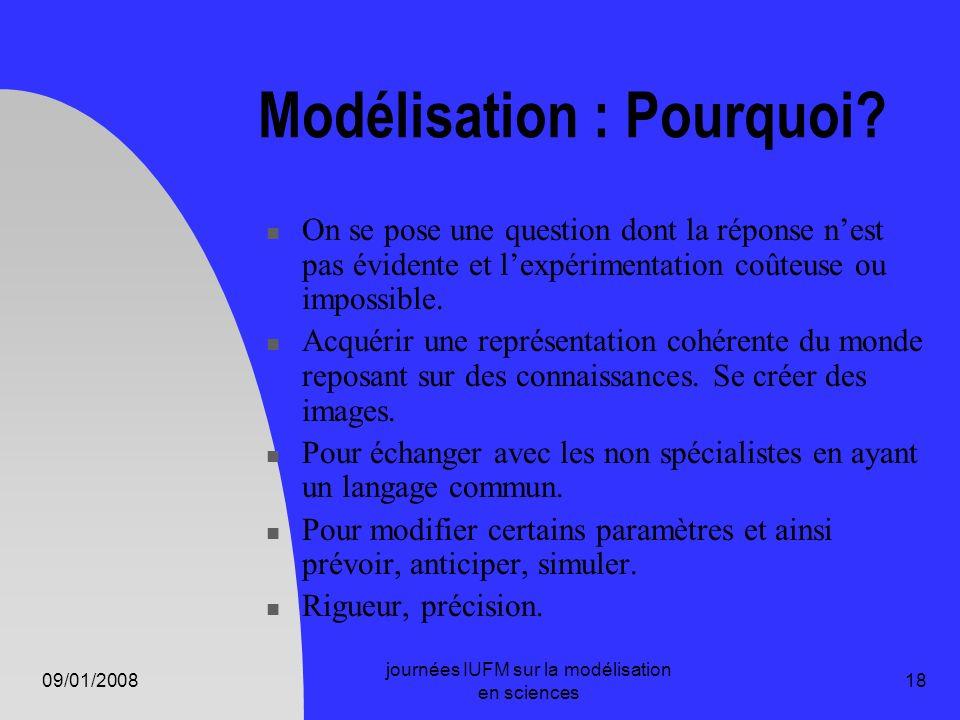 09/01/2008 journées IUFM sur la modélisation en sciences 18 Modélisation : Pourquoi? On se pose une question dont la réponse nest pas évidente et lexp