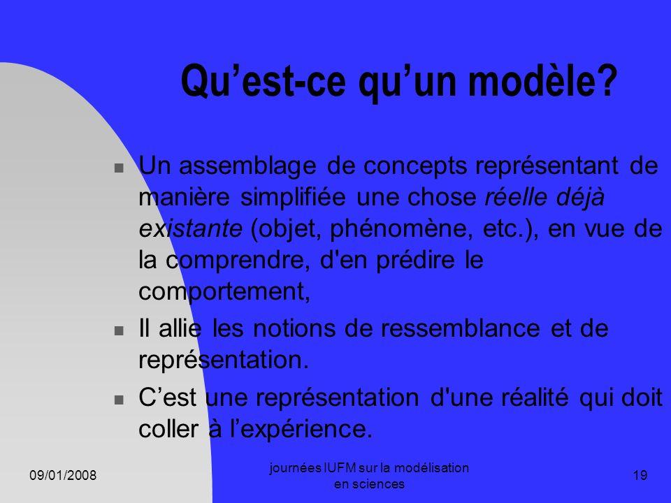 09/01/2008 journées IUFM sur la modélisation en sciences 19 Quest-ce quun modèle? Un assemblage de concepts représentant de manière simplifiée une cho
