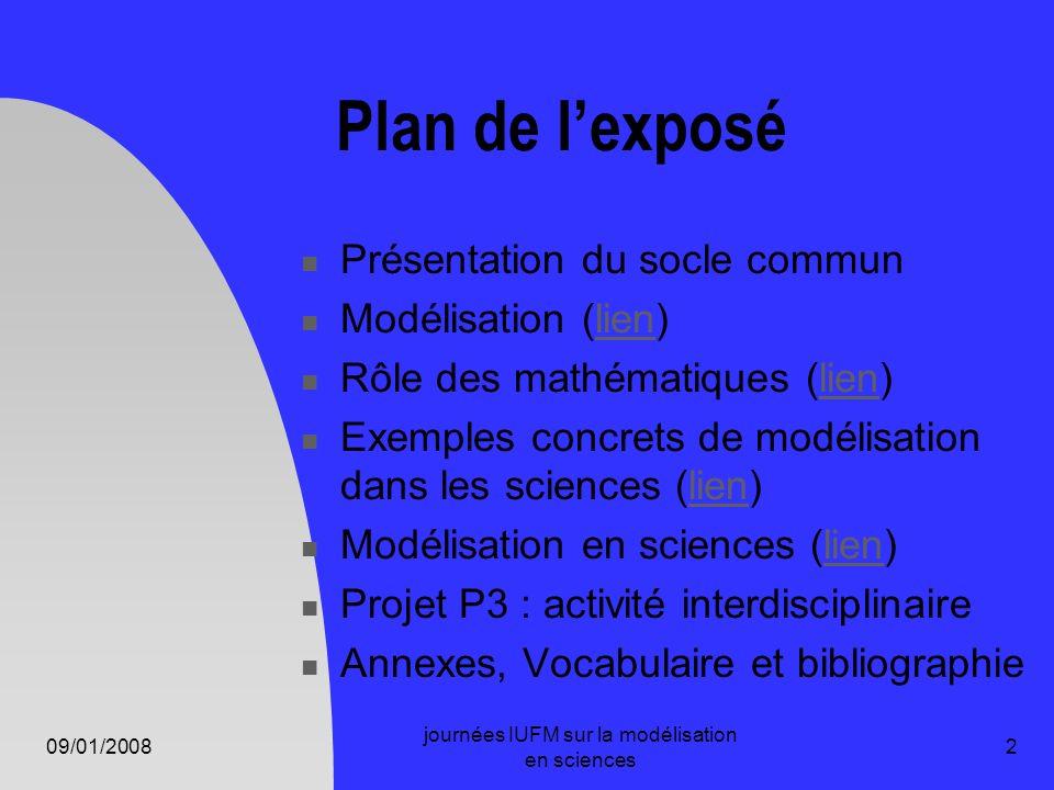 09/01/2008 journées IUFM sur la modélisation en sciences 2 Plan de lexposé Présentation du socle commun Modélisation (lien)lien Rôle des mathématiques