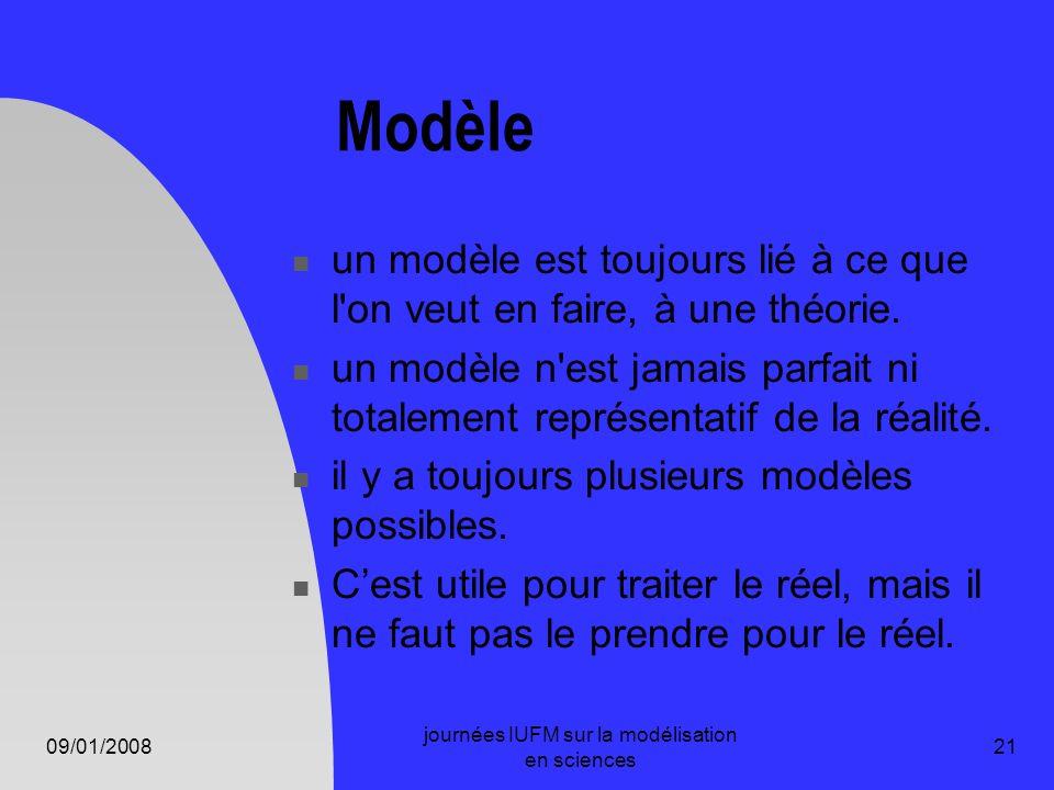 09/01/2008 journées IUFM sur la modélisation en sciences 21 Modèle un modèle est toujours lié à ce que l'on veut en faire, à une théorie. un modèle n'