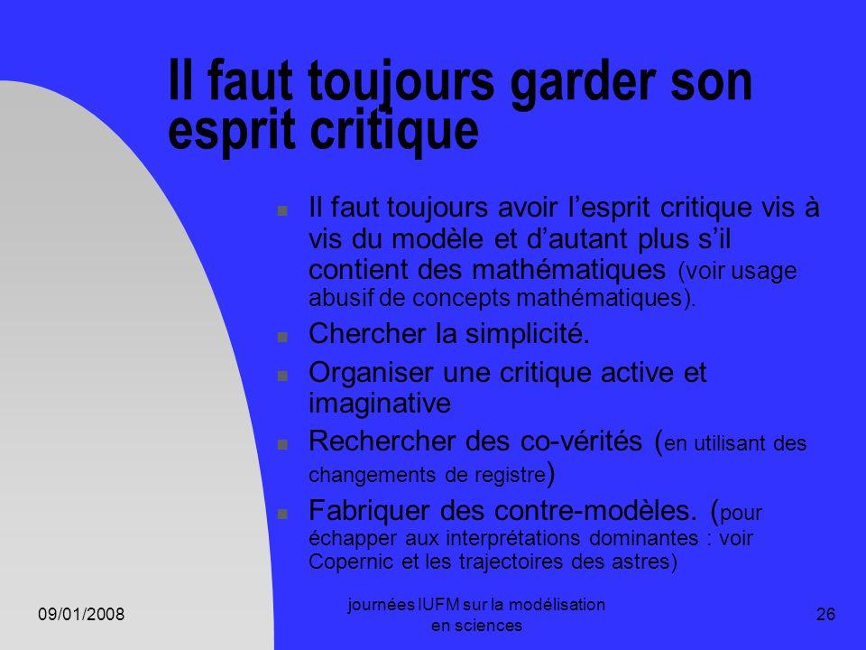 09/01/2008 journées IUFM sur la modélisation en sciences 26 Il faut toujours garder son esprit critique Il faut toujours avoir lesprit critique vis à
