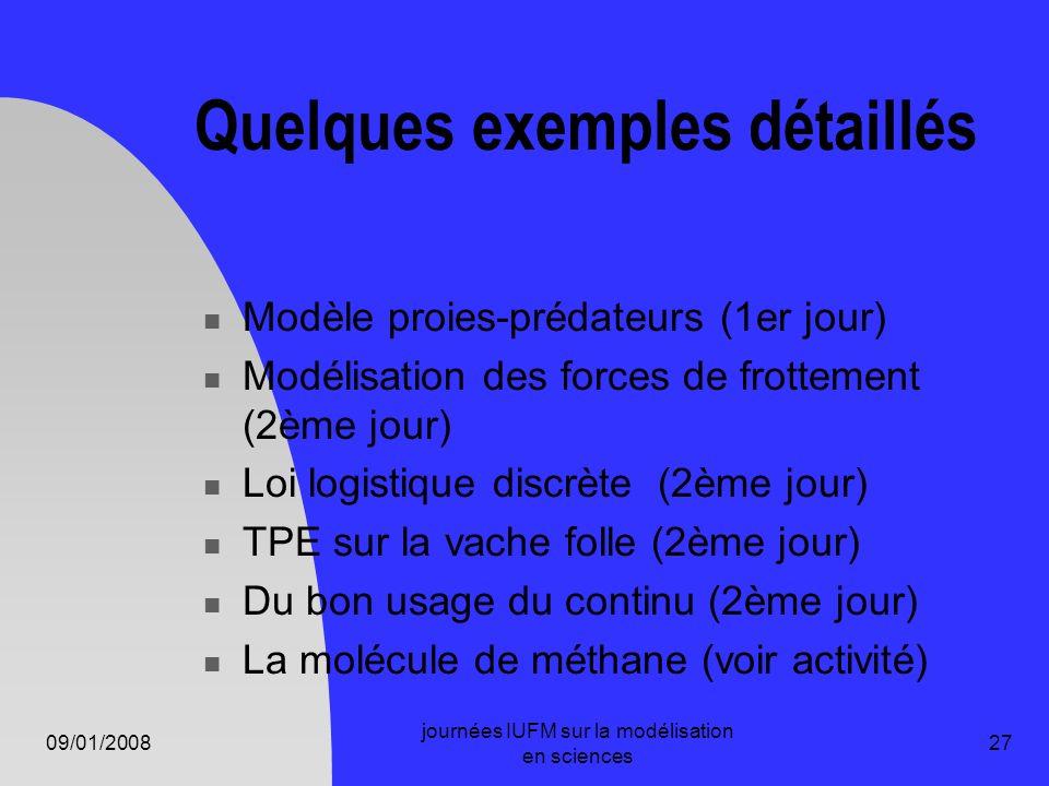 09/01/2008 journées IUFM sur la modélisation en sciences 27 Quelques exemples détaillés Modèle proies-prédateurs (1er jour) Modélisation des forces de
