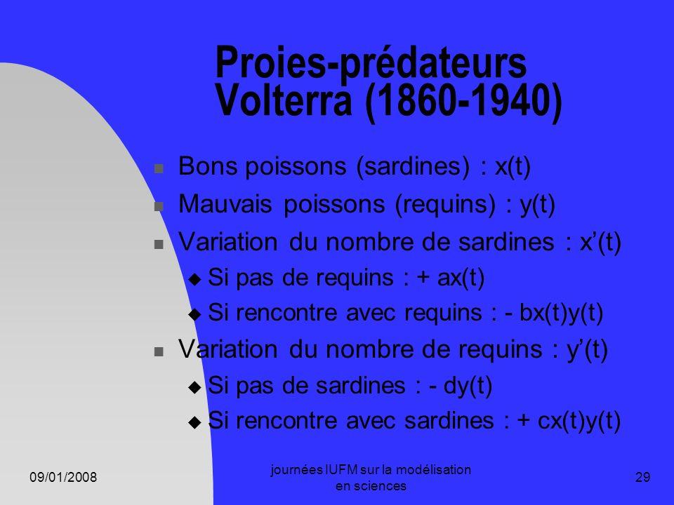 09/01/2008 journées IUFM sur la modélisation en sciences 29 Proies-prédateurs Volterra (1860-1940) Bons poissons (sardines) : x(t) Mauvais poissons (r