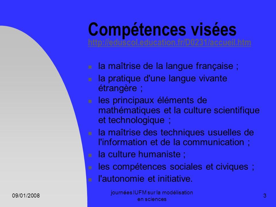 09/01/2008 journées IUFM sur la modélisation en sciences 3 Compétences visées http://eduscol.education.fr/D0231/accueil.htm http://eduscol.education.f