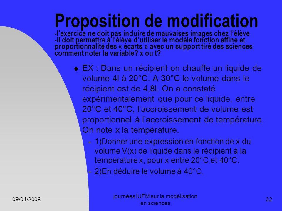 09/01/2008 journées IUFM sur la modélisation en sciences 32 Proposition de modification -lexercice ne doit pas induire de mauvaises images chez lélève