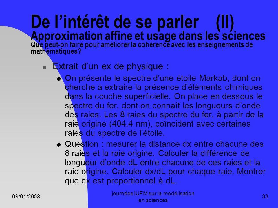 09/01/2008 journées IUFM sur la modélisation en sciences 33 De lintérêt de se parler (II) Approximation affine et usage dans les sciences Que peut-on