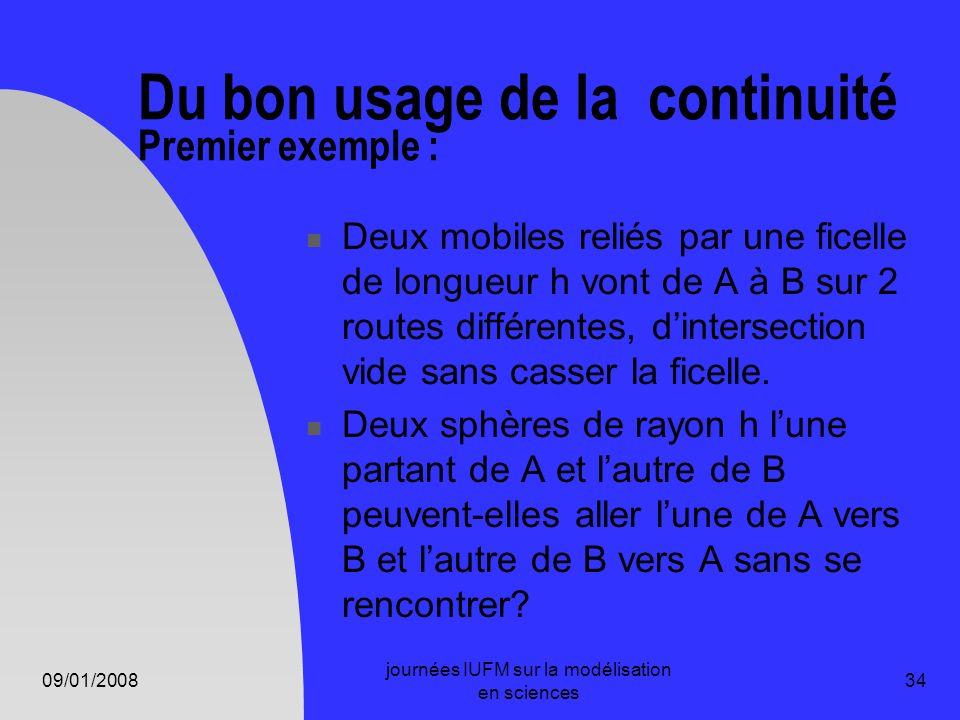 09/01/2008 journées IUFM sur la modélisation en sciences 34 Du bon usage de la continuité Premier exemple : Deux mobiles reliés par une ficelle de lon