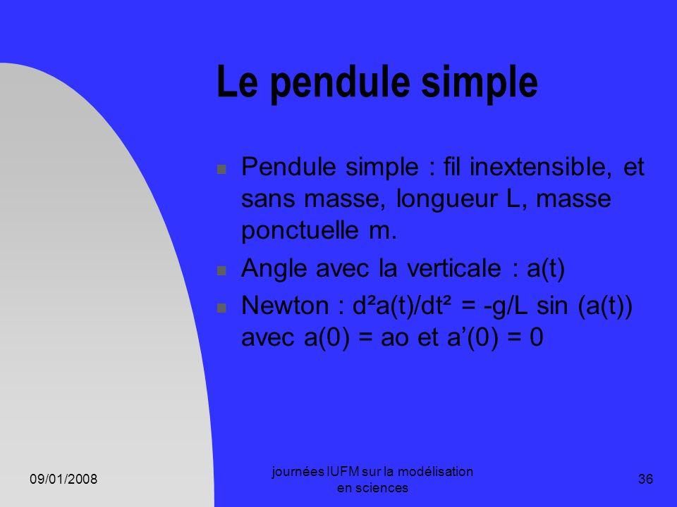 09/01/2008 journées IUFM sur la modélisation en sciences 36 Le pendule simple Pendule simple : fil inextensible, et sans masse, longueur L, masse ponc