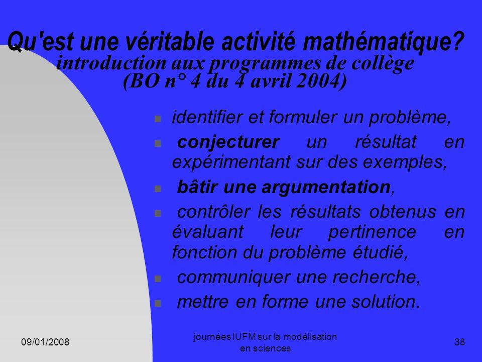 09/01/2008 journées IUFM sur la modélisation en sciences 38 Qu'est une véritable activité mathématique? introduction aux programmes de collège (BO n°