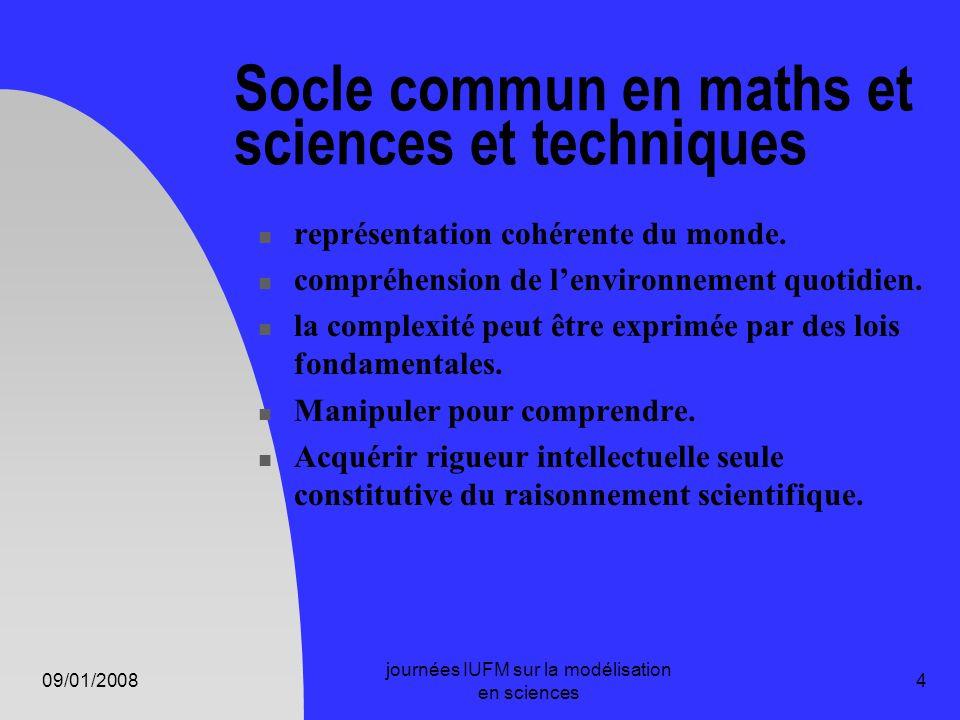 09/01/2008 journées IUFM sur la modélisation en sciences 4 Socle commun en maths et sciences et techniques représentation cohérente du monde. compréhe