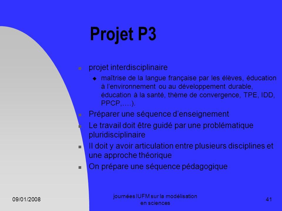 09/01/2008 journées IUFM sur la modélisation en sciences 41 Projet P3 projet interdisciplinaire maîtrise de la langue française par les élèves, éducat