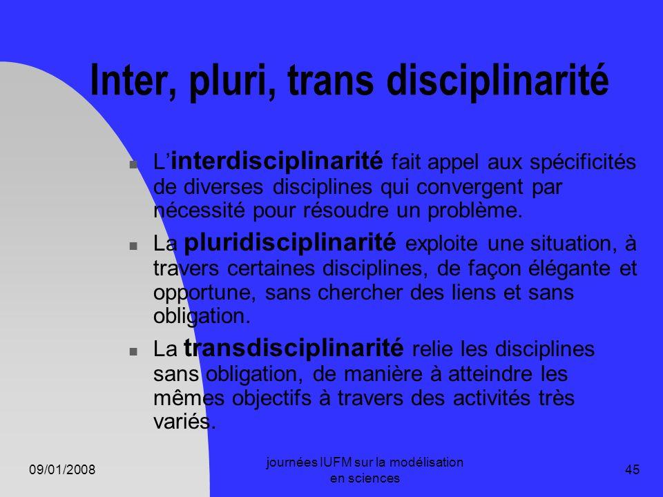 09/01/2008 journées IUFM sur la modélisation en sciences 45 Inter, pluri, trans disciplinarité L interdisciplinarité fait appel aux spécificités de di