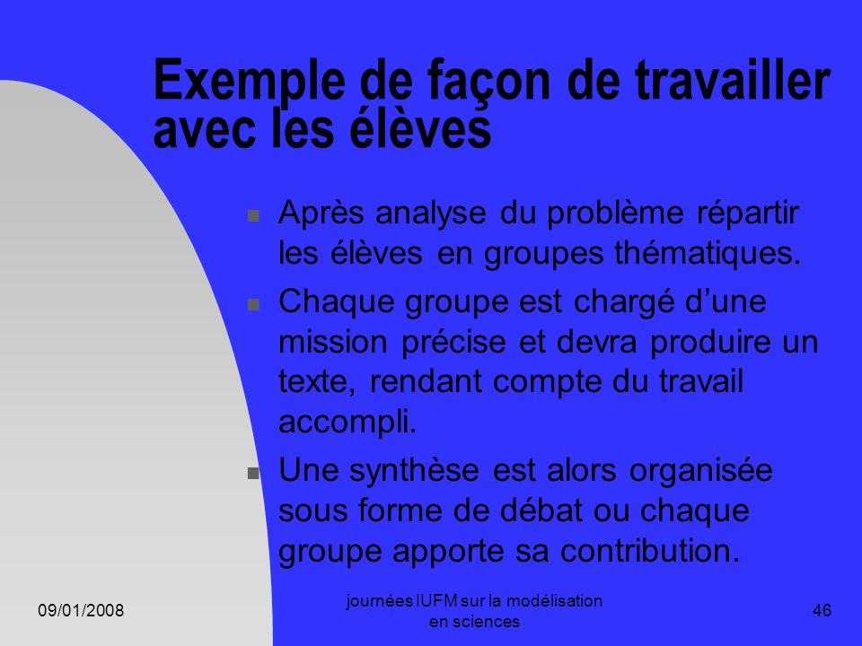 09/01/2008 journées IUFM sur la modélisation en sciences 46 Exemple de façon de travailler avec les élèves Après analyse du problème répartir les élèv