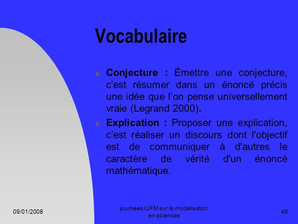09/01/2008 journées IUFM sur la modélisation en sciences 49 Vocabulaire Conjecture : Émettre une conjecture, cest résumer dans un énoncé précis une id