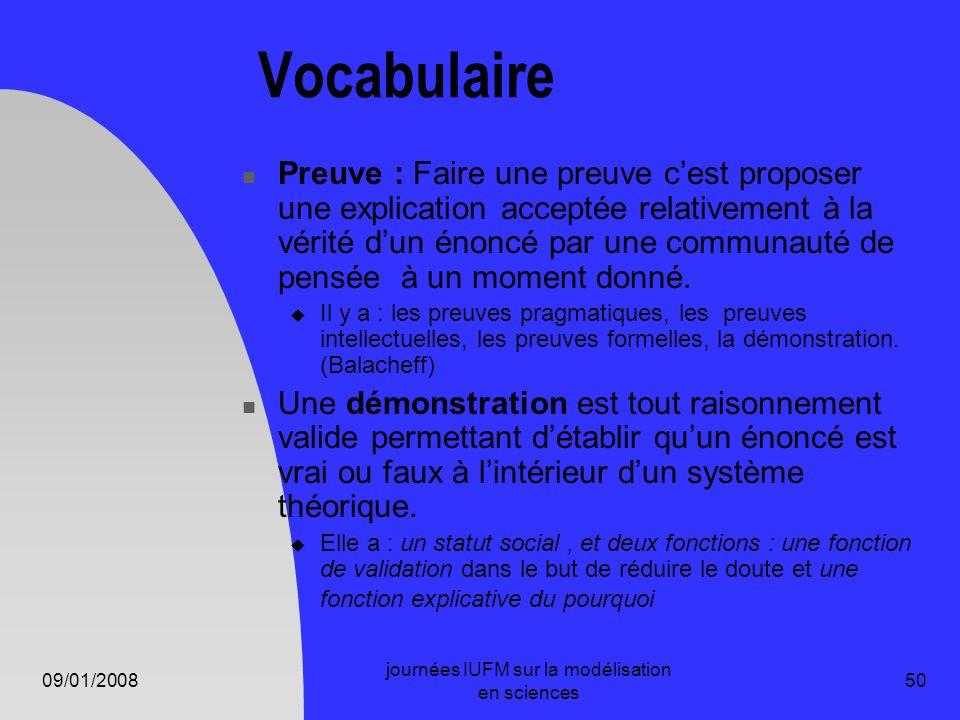 09/01/2008 journées IUFM sur la modélisation en sciences 50 Vocabulaire Preuve : Faire une preuve cest proposer une explication acceptée relativement