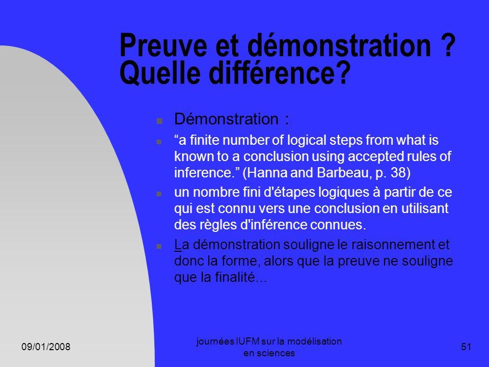 09/01/2008 journées IUFM sur la modélisation en sciences 51 Preuve et démonstration ? Quelle différence? Démonstration : a finite number of logical st