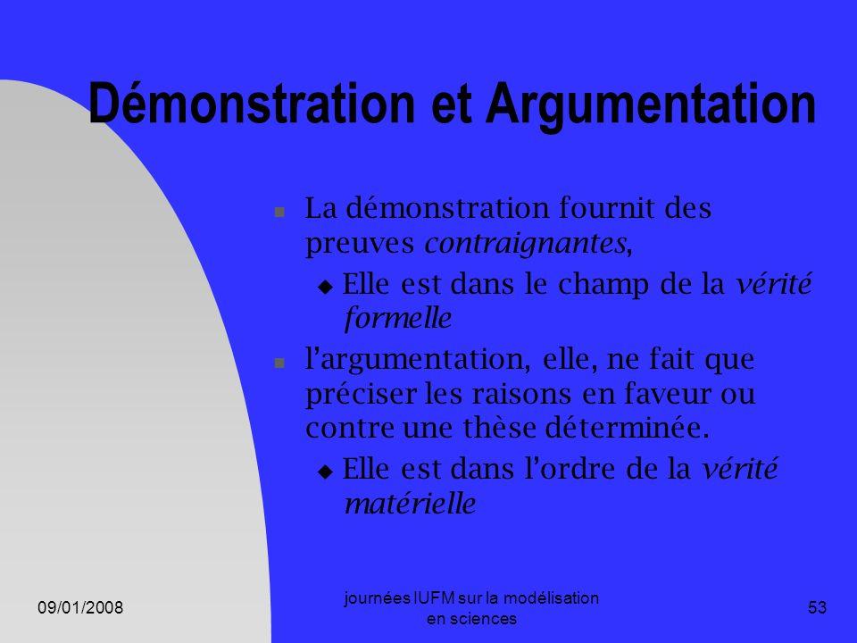 09/01/2008 journées IUFM sur la modélisation en sciences 53 Démonstration et Argumentation La démonstration fournit des preuves contraignantes, Elle e