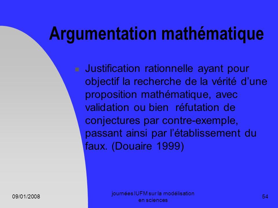09/01/2008 journées IUFM sur la modélisation en sciences 54 Argumentation mathématique Justification rationnelle ayant pour objectif la recherche de l