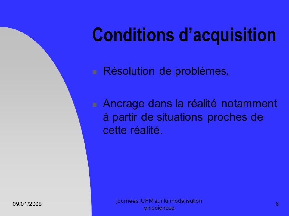 09/01/2008 journées IUFM sur la modélisation en sciences 6 Conditions dacquisition Résolution de problèmes, Ancrage dans la réalité notamment à partir