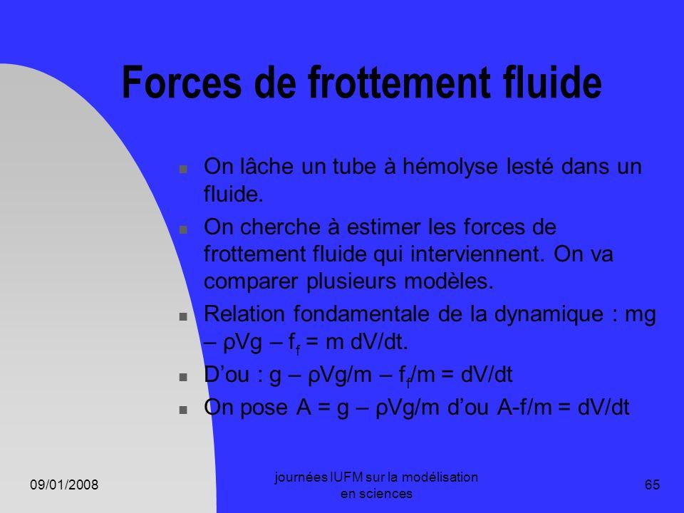 09/01/2008 journées IUFM sur la modélisation en sciences 65 Forces de frottement fluide On lâche un tube à hémolyse lesté dans un fluide. On cherche à