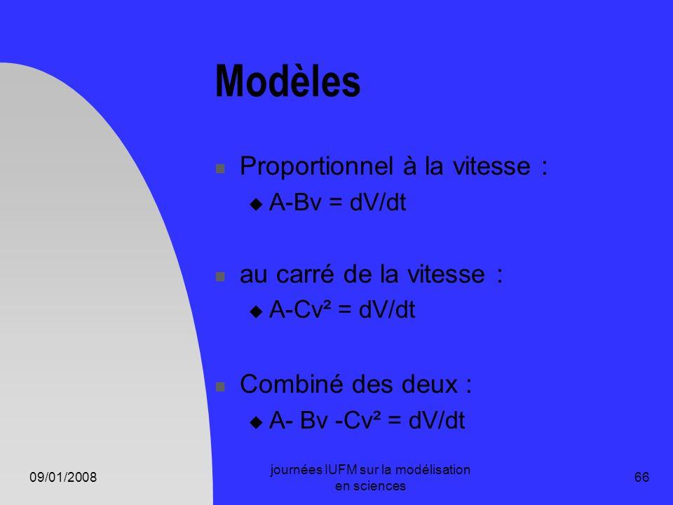 09/01/2008 journées IUFM sur la modélisation en sciences 66 Modèles Proportionnel à la vitesse : A-Bv = dV/dt au carré de la vitesse : A-Cv² = dV/dt C