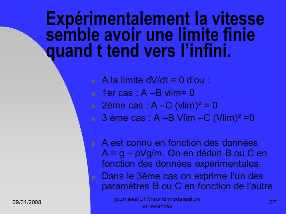 09/01/2008 journées IUFM sur la modélisation en sciences 67 Expérimentalement la vitesse semble avoir une limite finie quand t tend vers linfini. A la