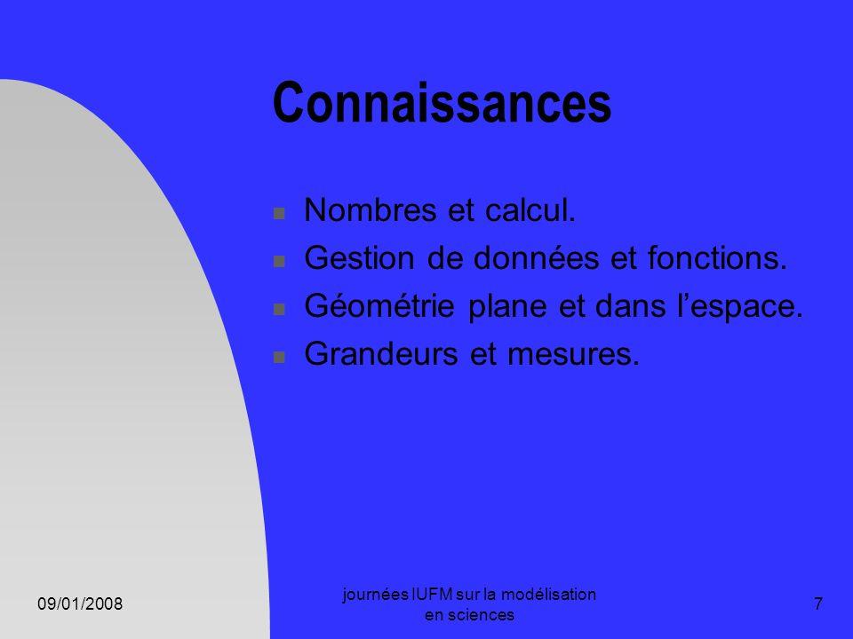 09/01/2008 journées IUFM sur la modélisation en sciences 7 Connaissances Nombres et calcul. Gestion de données et fonctions. Géométrie plane et dans l