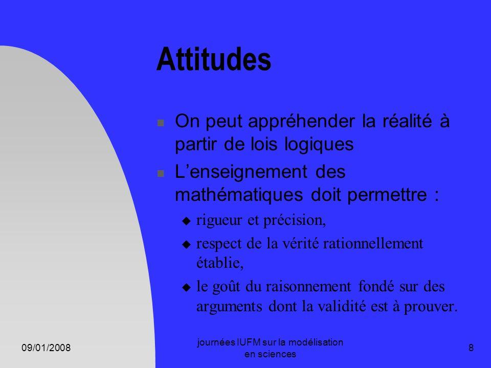 09/01/2008 journées IUFM sur la modélisation en sciences 8 Attitudes On peut appréhender la réalité à partir de lois logiques Lenseignement des mathém