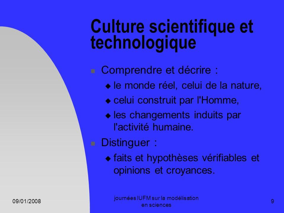 09/01/2008 journées IUFM sur la modélisation en sciences 9 Culture scientifique et technologique Comprendre et décrire : le monde réel, celui de la na