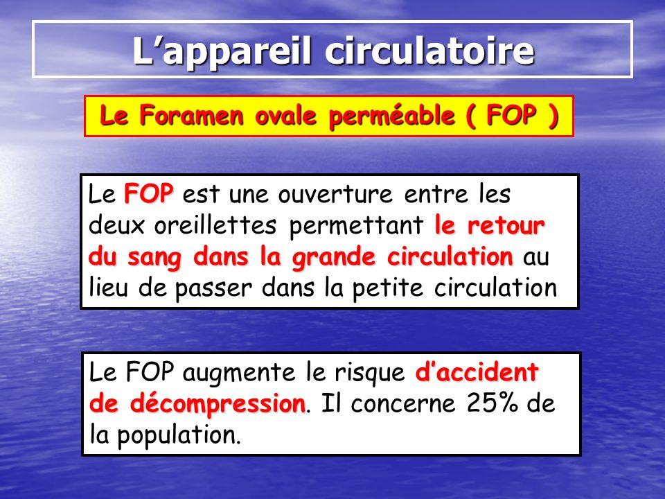 Le Foramen ovale perméable ( FOP ) Lappareil circulatoire FOP le retour du sang dans la grande circulation Le FOP est une ouverture entre les deux ore