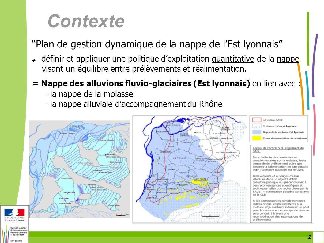 2 2 Contexte Plan de gestion dynamique de la nappe de lEst lyonnais définir et appliquer une politique dexploitation quantitative de la nappe visant u