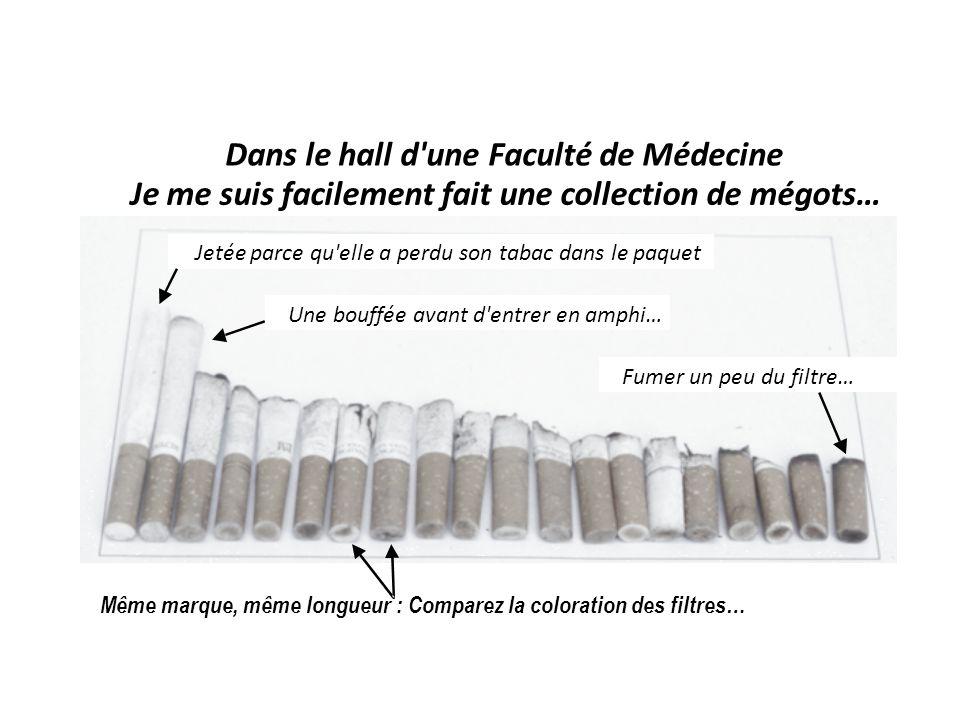 Dans le hall d une Faculté de Médecine Je me suis facilement fait une collection de mégots… Une bouffée avant d entrer en amphi… Fumer un peu du filtre… Même marque, même longueur : Comparez la coloration des filtres… Jetée parce qu elle a perdu son tabac dans le paquet