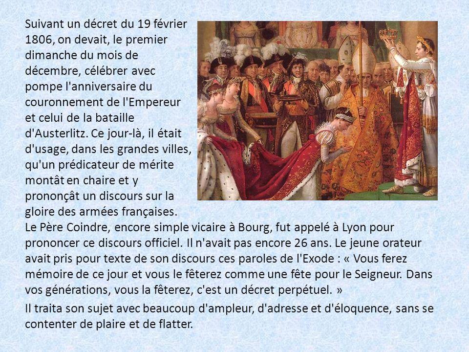 Le Père Coindre, encore simple vicaire à Bourg, fut appelé à Lyon pour prononcer ce discours officiel.