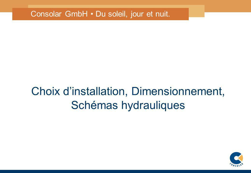 1 Choix dinstallation, Dimensionnement, Schémas hydrauliques Consolar GmbH Du soleil, jour et nuit.