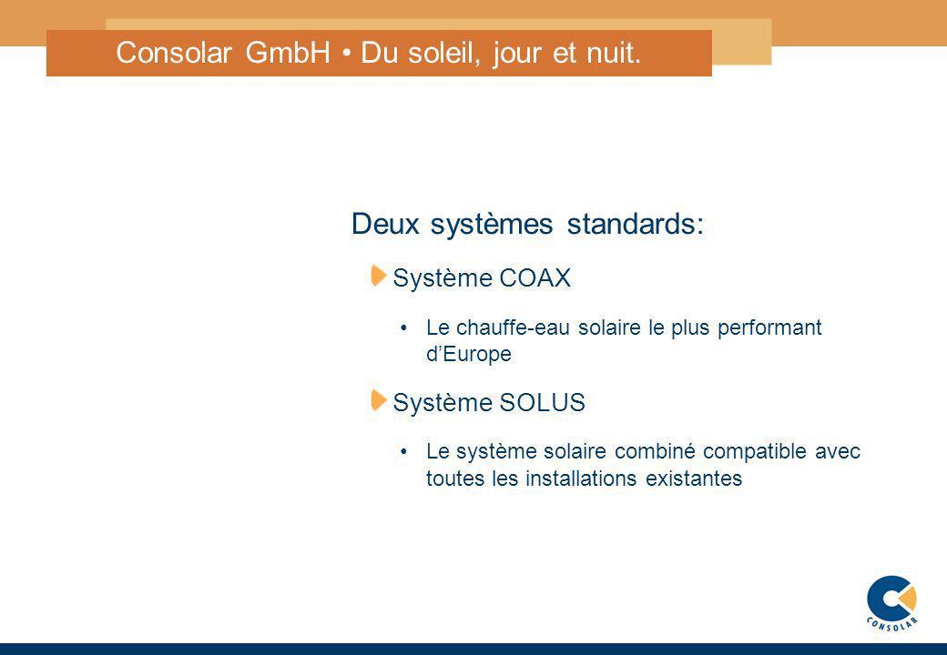 2 Deux systèmes standards: Système COAX Le chauffe-eau solaire le plus performant dEurope Système SOLUS Le système solaire combiné compatible avec tou
