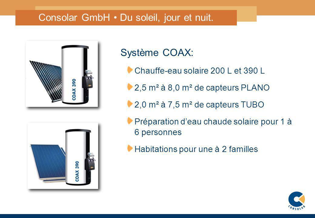 3 Consolar GmbH Du soleil, jour et nuit. Système COAX: Chauffe-eau solaire 200 L et 390 L 2,5 m² à 8,0 m² de capteurs PLANO 2,0 m² à 7,5 m² de capteur